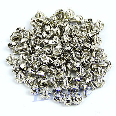 100pcs Motherboard Mounting Toothed Hex Computer 6/32 Hard Drive PC Case Screws