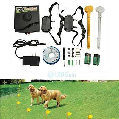 New Underground Electric Dog Fence Fencing System 2 Shock Collar Waterproof USA