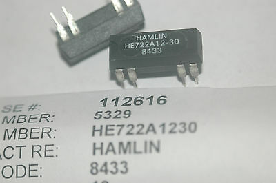 HAMLIN HE722A12-30 Dip 5VDC DPST Normally On Reed Relay New Lot Quantity-2