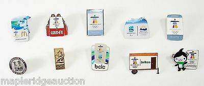 10 Vancouver 2010 Olympic Pins Lot Collection, Tech Cominco Miga Bid YVR Airport