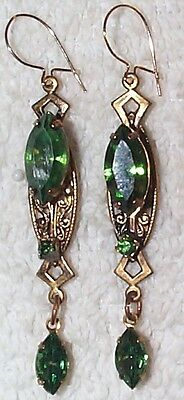 Vintage Extraordinary Mossy Green Nice Shiny Glass Drop Earrings /vintage Brass