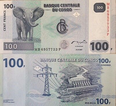 Congo 2007 100 Francs Unc Banknote Bull Elephant P-New Buy From A Usa Seller !!!