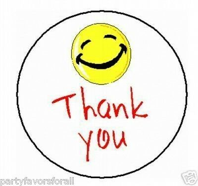 Thank you Smiley Face Labels Stickers 2,520 Qty.