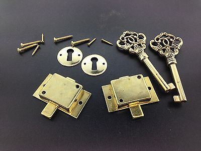 2 Fancy Brass Grandfather Clock Front Door key and Lock Sets