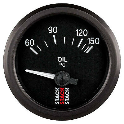 Stack Electrical Oil Temperature Gauge - Black Dial Face - 60-150° Degrees C