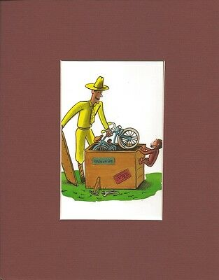 CURIOUS GEORGE~MAN WITH THE YELLOW HAT~Mat Print~NEW BIKE~HANDLE WITH CARE~NEW