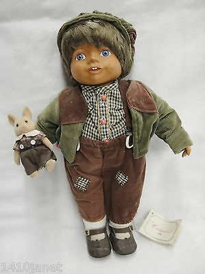 QVC Camelot Michael Doll with Toy Bunny Wood Head Arms Legs Corduroy Clothes