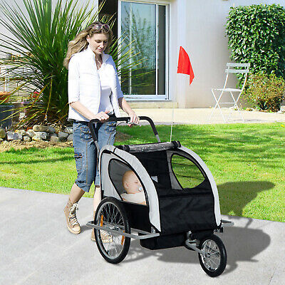2-IN-1 Baby Bike Trailer Large Bicycle Stroller w/ Canopy Drawbar Connector