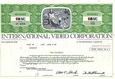 USA Amerika International Video Corporation alte Aktie 1976 deko selten