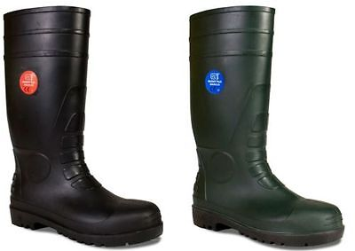 Mens Safety Wellington Boots Work Steel Toe Cap Wellies Black Green Size 3 -14