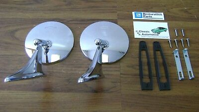 Round Bowtie Mirrors 12pc GM Resto Premium Selected Camaro Nova Chevelle mirror