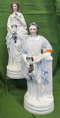 FANTASTIC LG PERIOD STAFFORDSHIRE PAIR LADY GENT FIGURINES DOGS BIRD C-1850