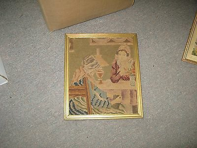 """Vintage Hand Stitched Needlepoint Petit point Tapestry  10""""x12"""" - 12""""x14"""" Framed"""