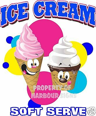 "Ice Cream Soft Serve Decal 14"" Concession Restaurant Food Truck Cart Sticker"