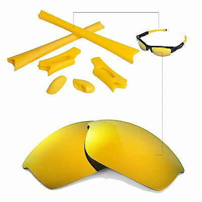 WL Polarized 24K Gold Replacement Lenses And Rubber Kit For Oakley Flak Jacket