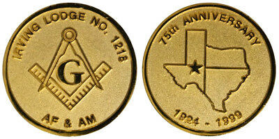 MEDAGLIA  MASSONERIA 75th ANNIVERSARY IRVING MASONIC LODGE N°1218 #MD4056