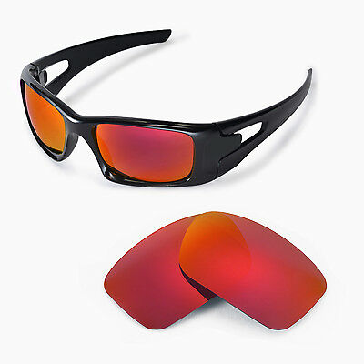 Walleva Polarized Fire Red Replacement Lenses For Oakley Crankcase Sunglasses