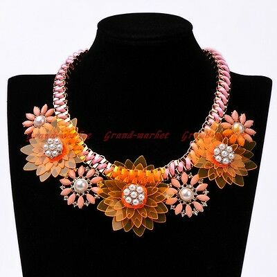 Fashion Gold Knit Rope Chain White Pearl Crystal Pink Resin Flower Bib Necklace