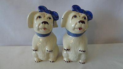 "Shawnee Mugsy Dog With Blue Scarf 5 1/4"" Tall Salt and Pepper Shakers #G211"
