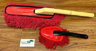 Car Duster 2pc Set *Real Wood* Large Handle plus a Mini Compact Duster