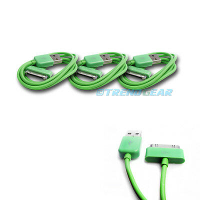 3X 10Ft 30-Pin Usb Sync Data Power Charger Green Cable Iphone Ipod Touch Ipad