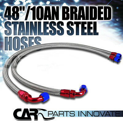 "48"" 10AN Stainless Steel Braided Oil/Fuel Line w/ Fitting Hose End Adapter"