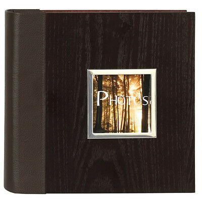 Manhattan Two Tone Wood Veneer Bookbound Memo Slip In Photo Album 200 6x4 Photo
