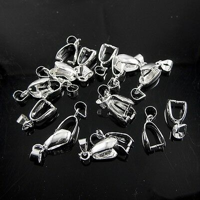 Wholesale Lots 925 Sterling Silver Pendant Pinch Clasp Bail Clasp Connectors