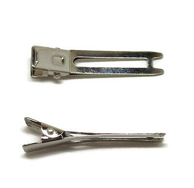 """200 Double Prong Alligator Pinch Hair Bow Clips Silver Metal Bulk 1 7/8"""" 48mm"""