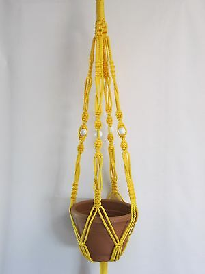 Macrame Plant Hanger 40in Vintage Style 6mm Sunshine Yellow Cord with White Bead