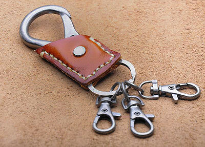 C01 Men's Punk Cool Genuine Leather Key Ring Keychain Buckle Key Holders 3-Color