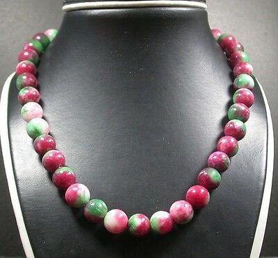 CHINESE Yellow Red Green JADE Circle Bead Beads Necklace 8mm 18 inches 259951