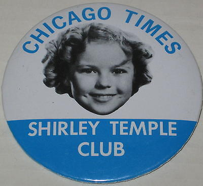 """Shirley Temple Reproduction """"Chicago Times Shirley Temple Club"""" Pin 3.5"""""""