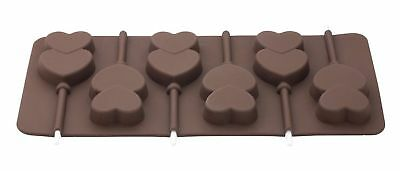New 6 Double Heart Shape Silicone Chocolate Lolly Mould With Sticks Tala