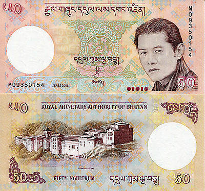 BHUTAN 50 Ngultrum Banknote World Paper Money Currency Pick p31a 2008 Bill Note