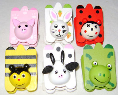 New 6 Wooden Painted Animal Insect Magnetic Clips Magnets Bee Rabbit Pig Frog +