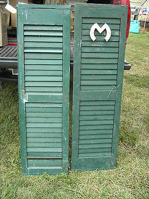 antique wood shutters Pr Green several layers of paint 14 X 48 X 1
