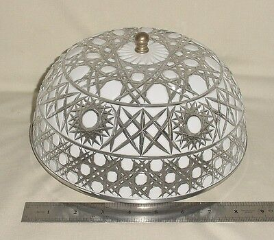 "Silverplated Metal Ceiling Sconce Milk Glass Crystal Cut Shade Globe 9"" Wired"