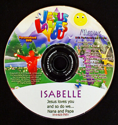 Jesus Loves You Personalized DVD - Child's Name in every track Christian DVD