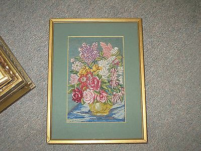 Vintage Fine Petit Point Tapestry Needlepoint Hand Stitched Framed