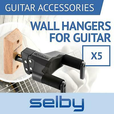 5 x Hercules GSP38WBPLUS Guitar Wall Mount Hangers Auto Locking & Wooden Base