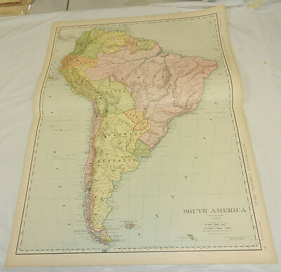 "1908 Rand McNally MAP of SOUTH AMERICA/Huge 20.5x28"" Format/SCARCE"