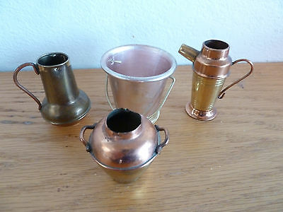 4 Miniature Brass & Copper  Pots Pitchers Pails   A   Doll House