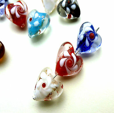 10 HEART SHAPED GLASS LAMPWORK BEADS WITH FLOWER DETAIL 15mm Random Colour Mix