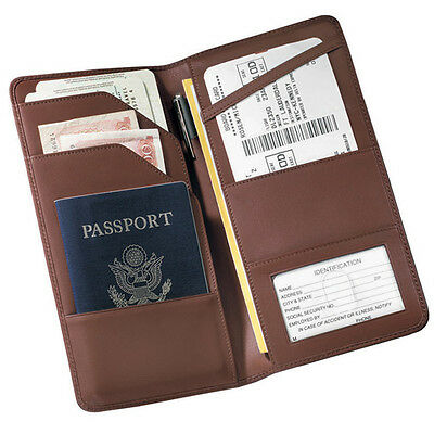 Royce Leather Checkpoint Passport Wallet, Top Grain Nappa Leather, Coco