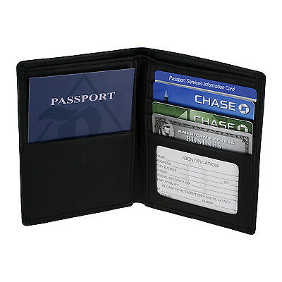 Royce RFID Blocking Passport Currency Wallet, Full Grain Nappa Leather, Black
