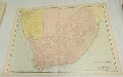 """1908 Rand McNally MAP of SOUTH AFRICA/Huge 20.5x28"""" Format/Includes Index/SCARCE"""