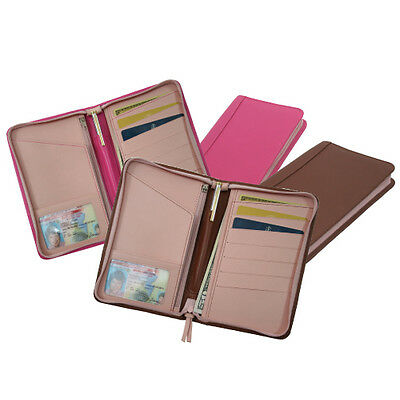 Royce 2-Toned Passport Travel Wallet, Top Grain Nappa Leather, Tan & Pink