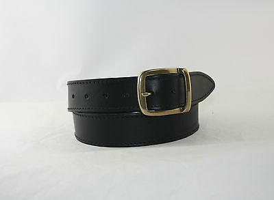 Genuine 35mm HIDE LEATHER Belt (BLACK) with a Solid ANTIQUE BRASS Buckle.