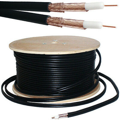25M RG59 Twin Coaxial Shotgun Cable -Pure Copper & Foam- Satellite Dish SKY HD